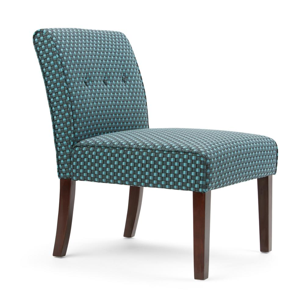 Simpli Home Sallybrook Teal Fabric Slipper Chair
