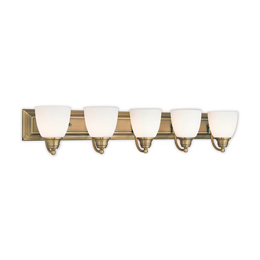 Springfield 5-Light Antique Brass Bath Vanity - Brass - Vanity Lighting - Lighting - The Home Depot