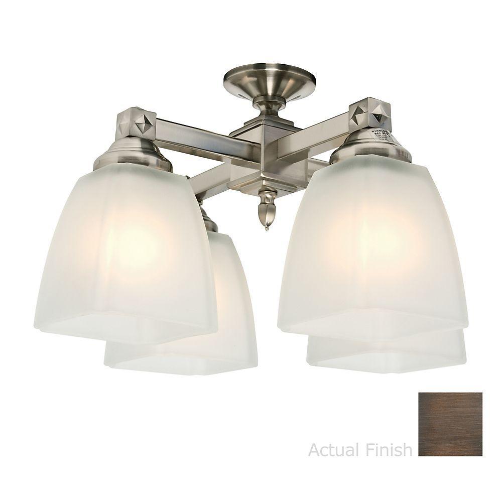Casablanca 4-Light Brushed Cocoa Center -Stem Ceiling Fan Light Kit-DISCONTINUED