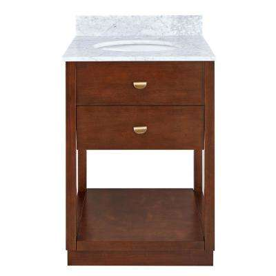 Toveraz 24.25 in. W x 22.25 in. D Bath Vanity in Dark Sienna Finish w/ Italian Marble Vanity Top in White w White Basin