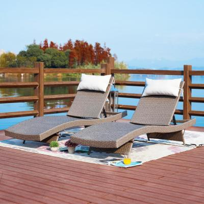 2-Piece Wicker Outdoor Chaise Lounge