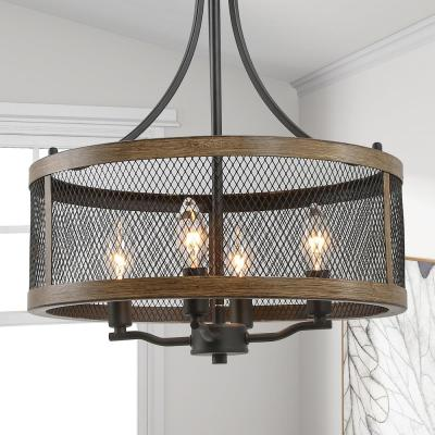 Eniso 16 in. 4-Light Black Mesh Iron Drum Modern Island Cage Chandelier with Walnut Wood Accents