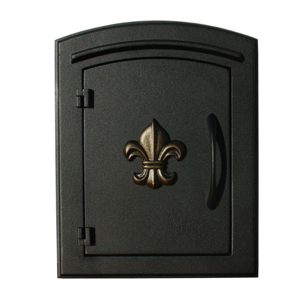 Manchester Black Column Or Wall Mount Mailbox With Fleur De Lis Door