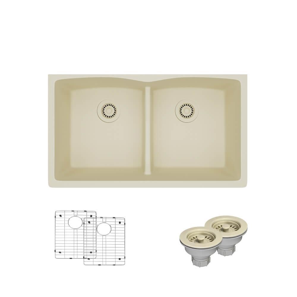 Undermount Low Divide Double Bowl Composite Granite Kitchen Sink
