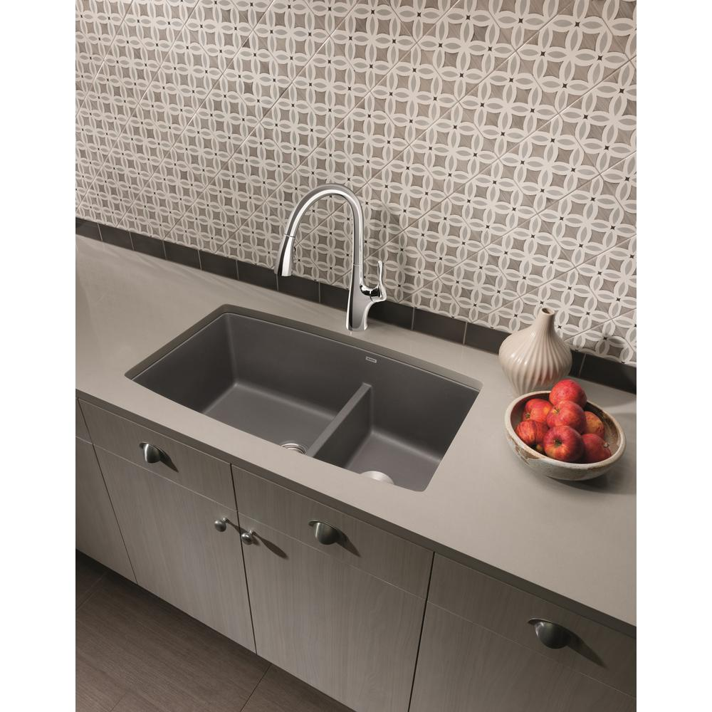 Blanco PERFORMA Undermount Granite Composite 33 in. 60/40 Double Bowl  Kitchen Sink with Low Divide in Cinder