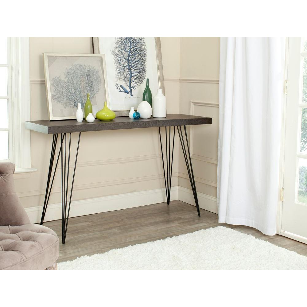 Wolcott Dark Brown and Black Console Table