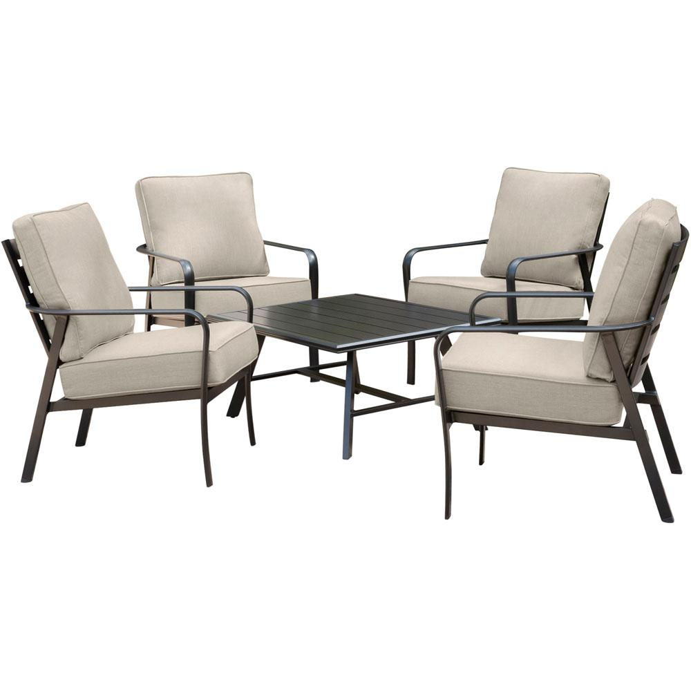 Cortino 5-Piece Commercial Rust-Free Aluminum Patio Conversation Set with Sunbrella Tan Cushions and Slat Coffee Table