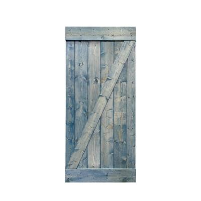 Z Bar Series 24 in. x 84 in. Solid Denim Blue Stained Pine Wood Interior Sliding Barn Door Slab