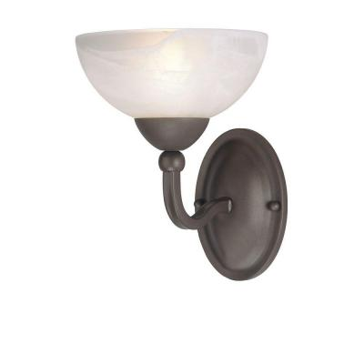 1-Light Organic Gold Interior Wall Fixture with Frosted White Alabaster Glass