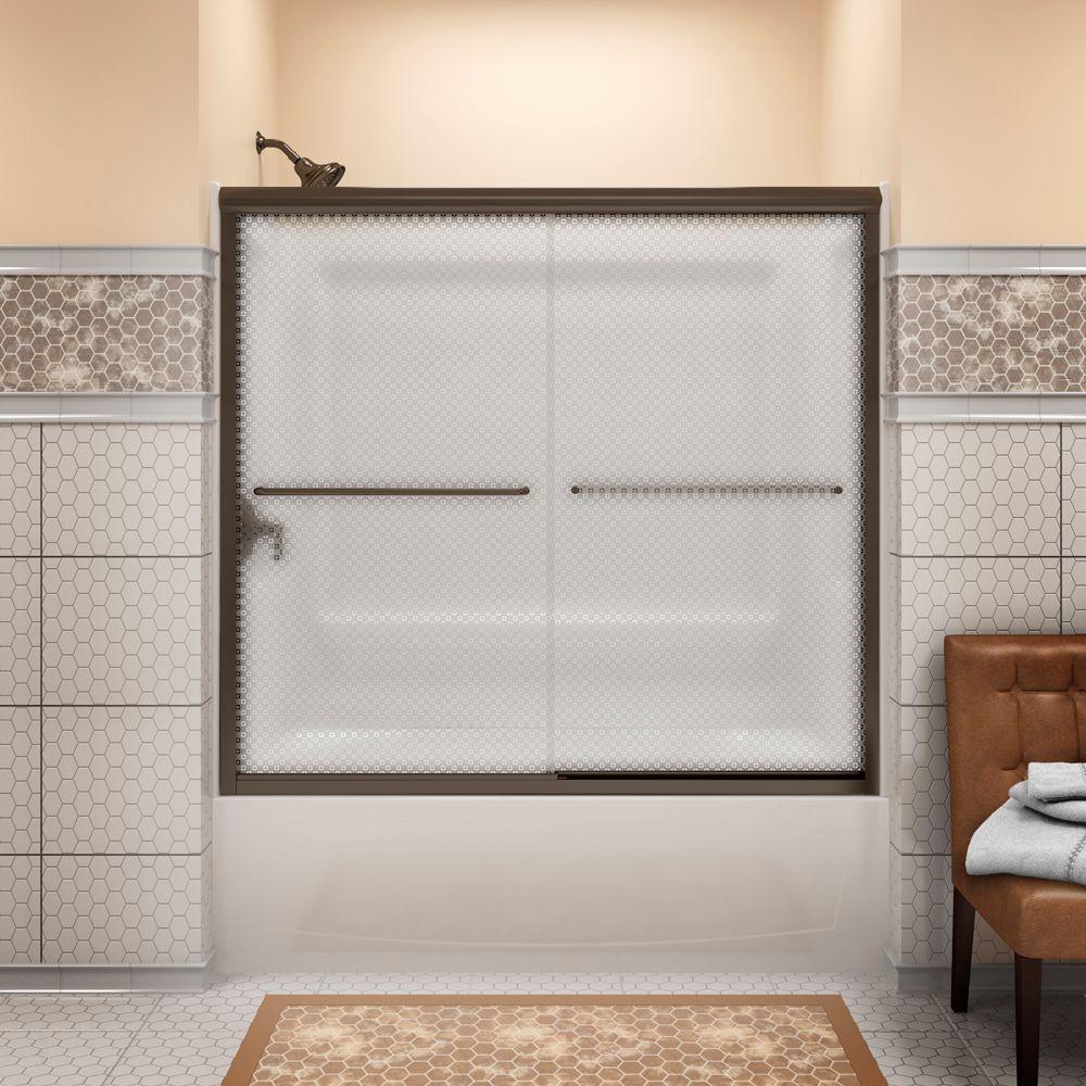 Finesse 59-5/8 in. x 58-1/16 in. Semi-Frameless Sliding Bathdoor in Cirkette Deep Bronze with Handle