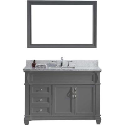 Virtu USA Victoria 49 in. W Bath Vanity in Gray with Marble Vanity Top in White with Square Basin and Mirror