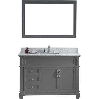 Victoria 49 in. W Bath Vanity in Gray with Marble Vanity Top in White with Square Basin and Mirror