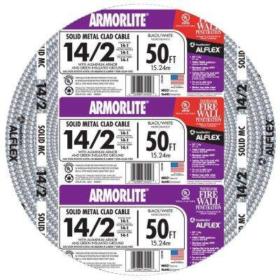 14/2 x 50 ft. Solid CU MC (Metal Clad) Armorlite Cable
