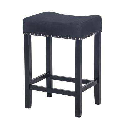 Hylie Nail Head 24 in. Piano Black and Black Cushioned Bar Stool