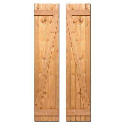 15 in. x 52 in. Board-N-Batten Baton Z Shutters Pair Natural Cedar