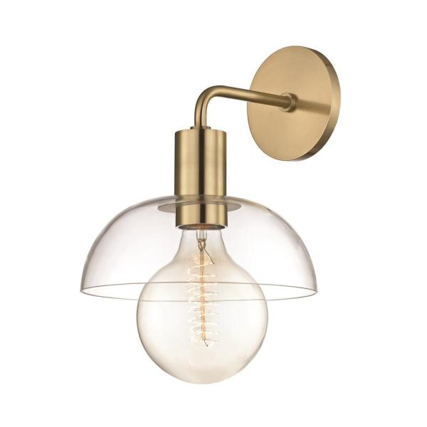 Kyla 1-Light Aged Brass Wall Sconce with Clear Glass