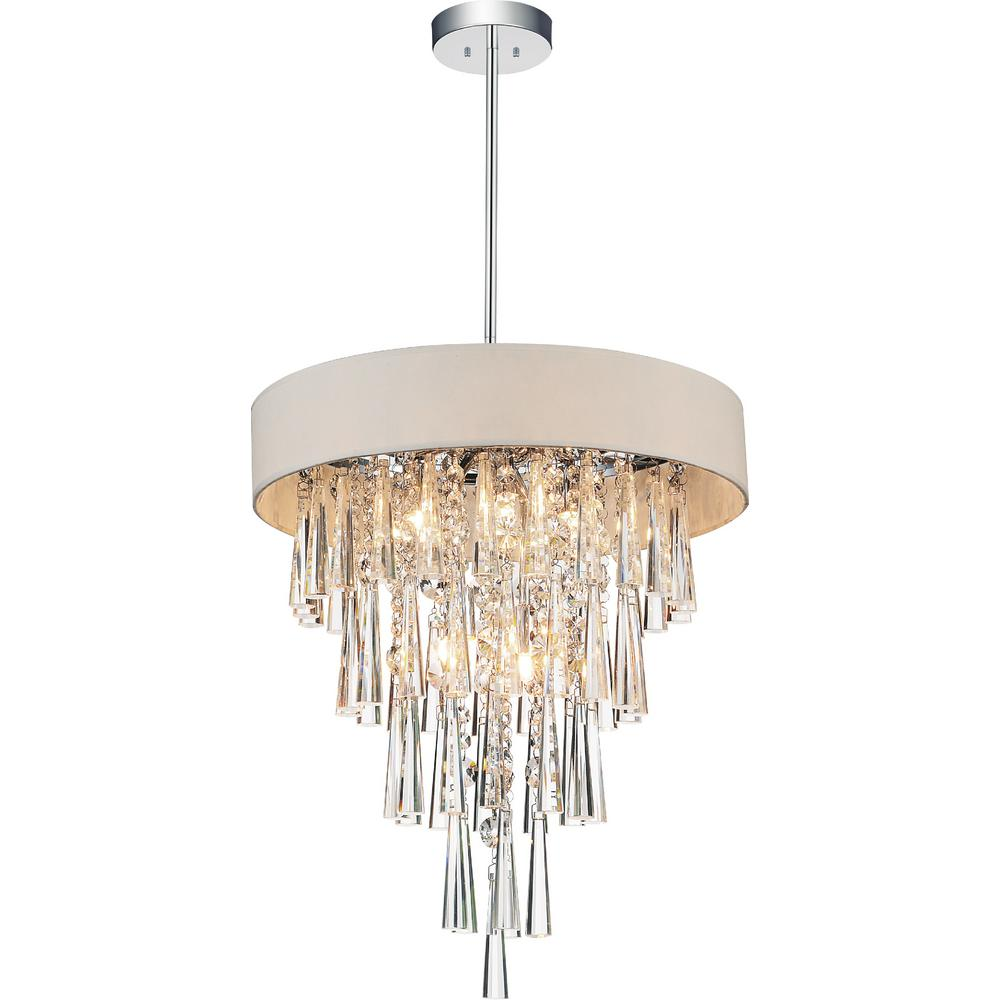 Franca 6-Light Chrome Chandelier with Off White shade