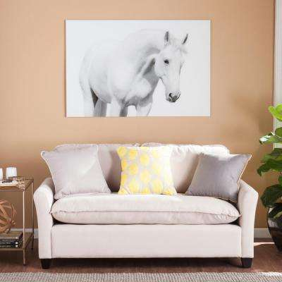 "32 in. H x 47 in. W ""White Horse I"" Glass Wall Art"