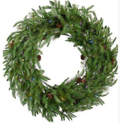 36 in. Norway Pine Artificial Holiday Wreath with Multi-Colored Battery-Operated LED String Lights