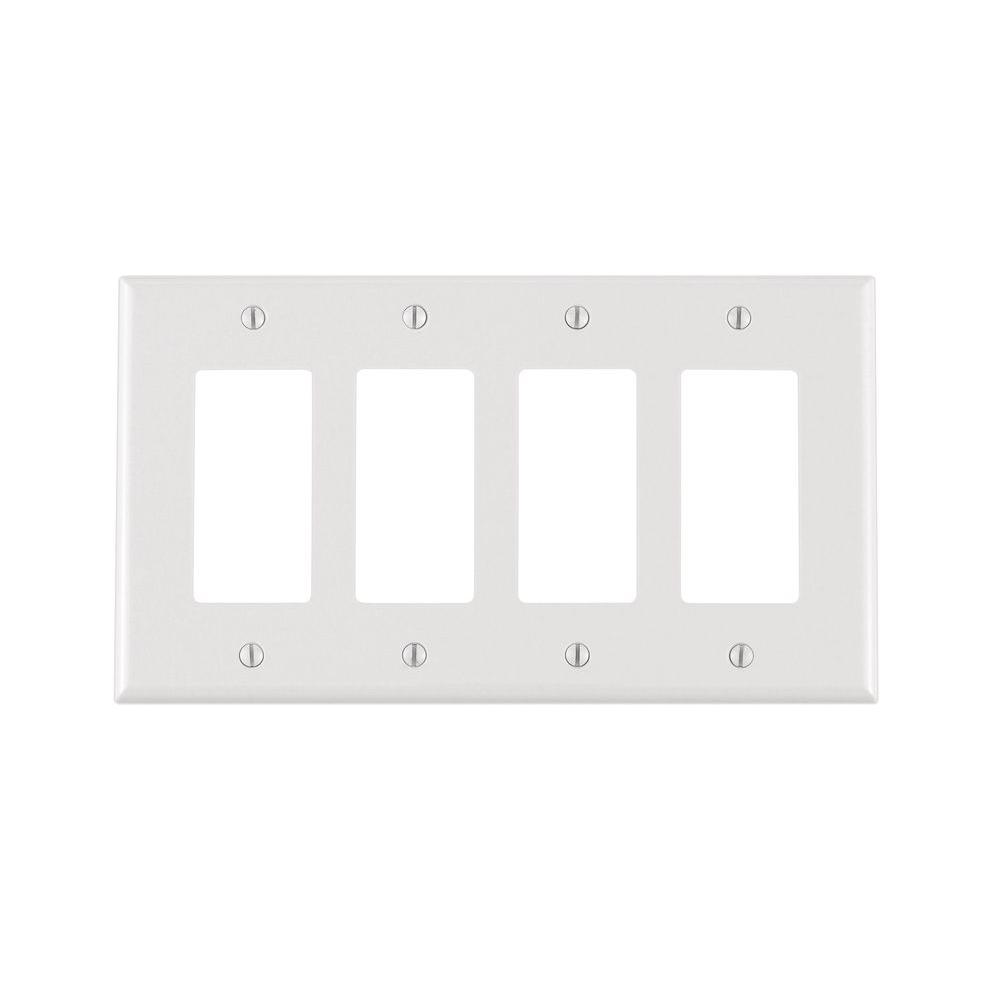 Rocker Switch Plate Adorable Leviton Decora 4Gang Midway Nylon Wall Plate Ivoryr51Pj26400I Inspiration