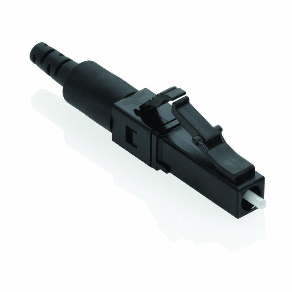 Leviton 50/125μm Multimode FastCAM Pre-Polished Connector LC, Black FastCAM Connectors are pre-polished, field-installable connectors that eliminate the need for hand polishing, bonding or epoxy in the field. FastCAM connectors are available in LC, SC, ST, Single-mode or Multimode (standard 50/125μm, 62.5/125μm and Laser Optimized 50/125μm) configurations terminated on 250 or 900μm buffered fiber and/or 2mm or 3mm jacketed fiber. LC and SC connectors allow verification of optical continuity, by use of the visual fault locator (VFL). FastCAM Connectors are designed for premise environments, patch panels and rapid repair/replacement requirements, as well as data centers and applications requiring fast network deployment.