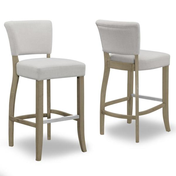 29 in. Aleck Beige Fabric Bar Stool with Antique Finish Wood Legs (Set of 2)