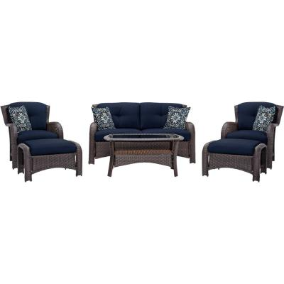 Corolla Aged Barrel Steel 6-Piece All-Weather Wicker Patio Conversation Set with Navy Cushions