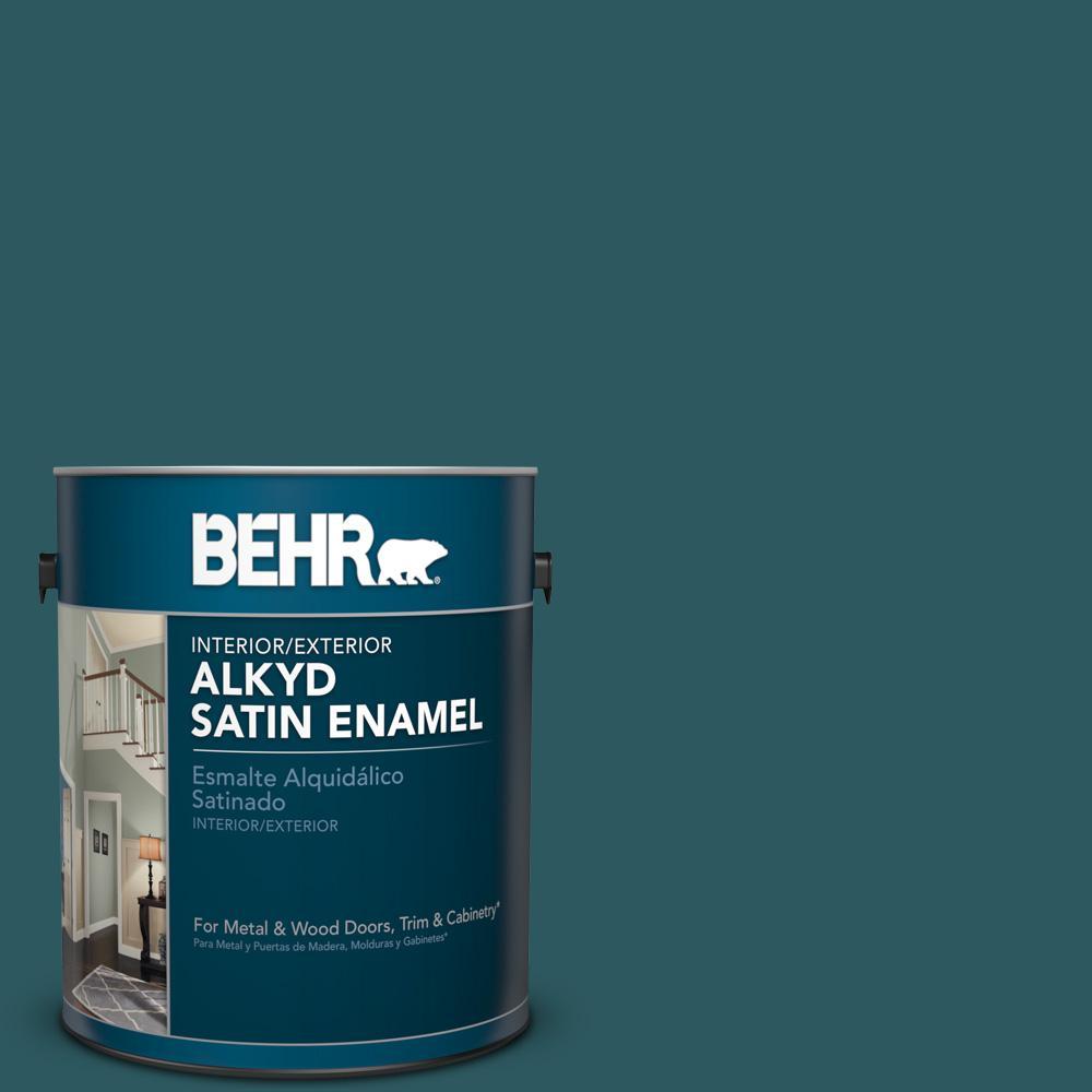 1 gal. #S450-7 Tsunami Satin Enamel Alkyd Interior/Exterior Paint