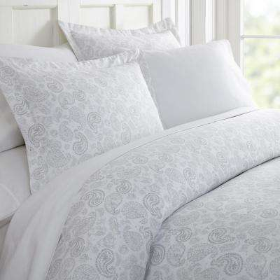 Coarse Paisley Patterned Performance Light Gray King 3-Piece Duvet Cover Set