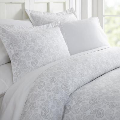 Coarse Paisley Patterned Performance Light Gray Queen 3-Piece Duvet Cover Set