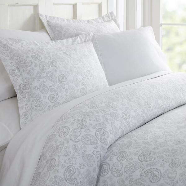 Becky Cameron Coarse Paisley Patterned Performance Light Gray Queen 3-Piece Duvet Cover Set
