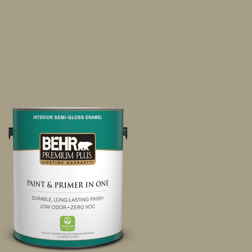 BEHR Premium Plus 1-gal. #N340-4 Tent Green Semi-Gloss Enamel Interior Paint