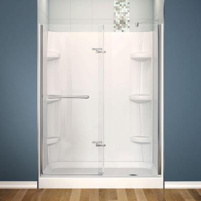 Reveal 30 in. x 60 in. x 76-1/2 in. Alcove Shower Stall in Chrome with Right Drain Base and Walls in White