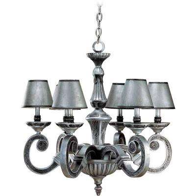 6-Light Antique Silver and Hammered Iron Chandelier