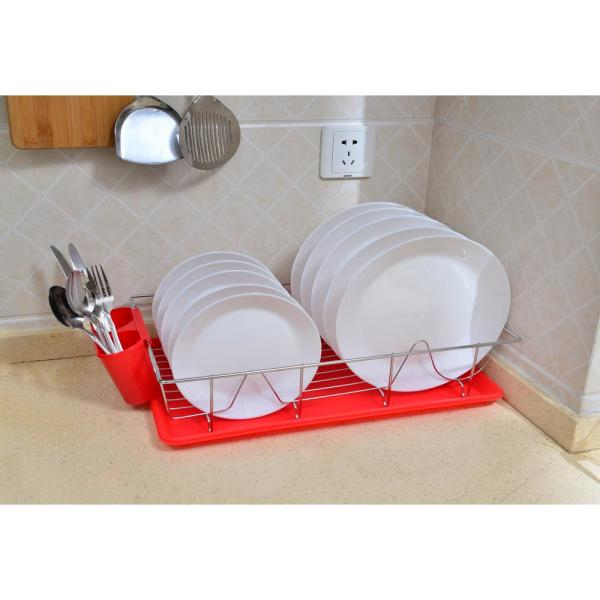 Kitchen Details 3-Piece Red Chrome Dishrack with Tray 4685-RED