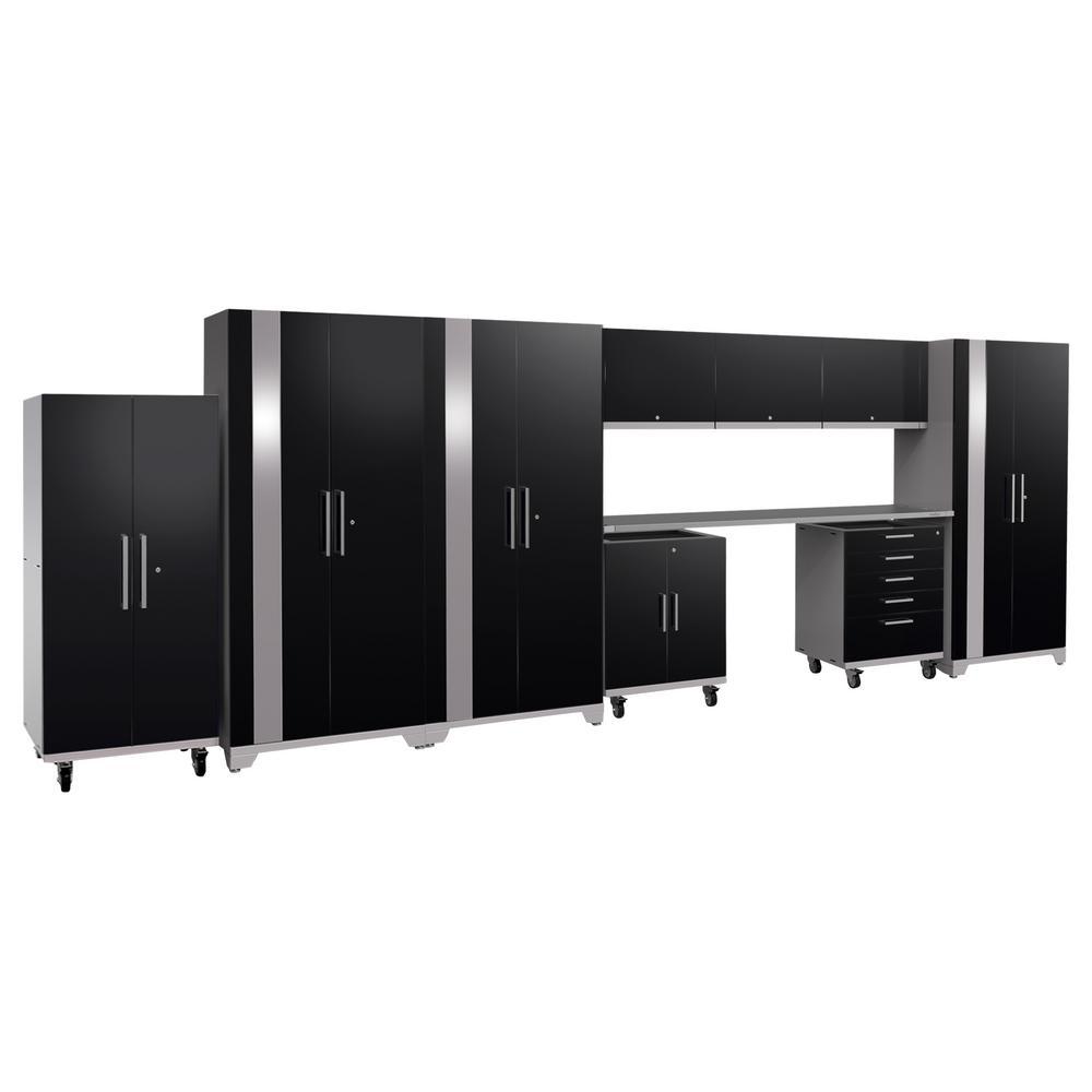Performance Plus 2.0 80 in. H x 225 in. W x 24 in. D Steel Garage Cabinet Set in Black (10-Piece)