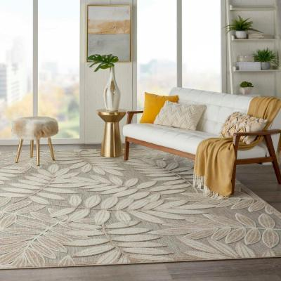 Aloha Natural 10 ft. x 13 ft. Floral Modern Indoor/Outdoor Area Rug
