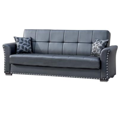 Diva Black Leatherette Upholstery Covertible Sleeper Sofa Bed with Storage
