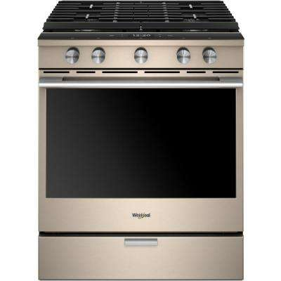5.8 cu. ft. Smart Slide-in Gas Range with EZ-2-LIFT Hinged Cast-Iron Grates in Fingerprint Resistant Sunset Bronze