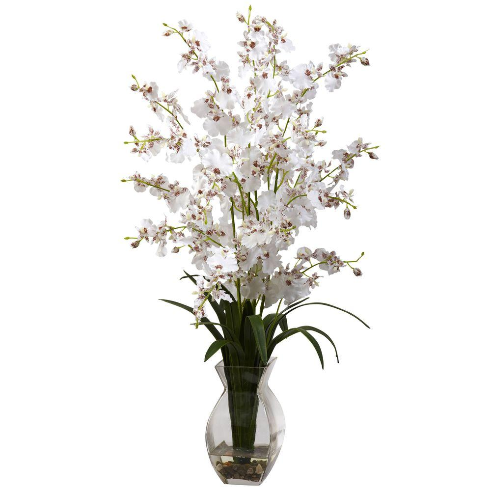 Nearly Natural Dancing Lady Orchid With Vase Arrangement In White