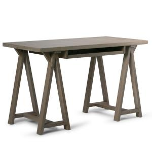 Sawhorse Solid Wood Modern Industrial 50 in. Wide Modern Industrial Small Writing Office Desk in Distressed Grey
