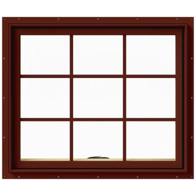 36 in. x 36 in. W-2500 Series Red Painted Clad Wood Awning Window w/ Natural Interior and Screen