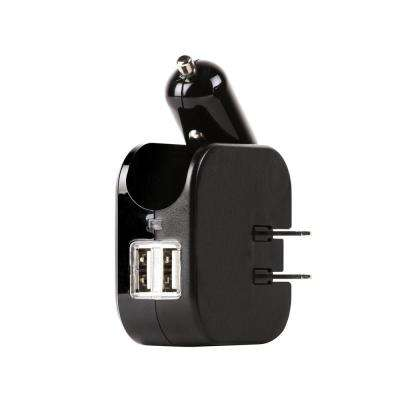 Dual USB Wall and Car Charger with 2 Ports