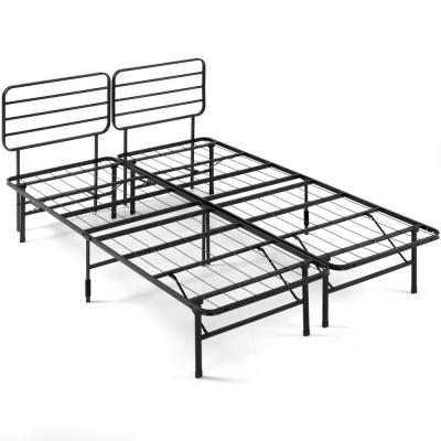 SmartBase Black Full Metal Bed Frame with Headboard
