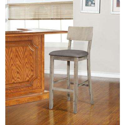Jordan 24 in. Gray Wash Cushioned Bar Stool