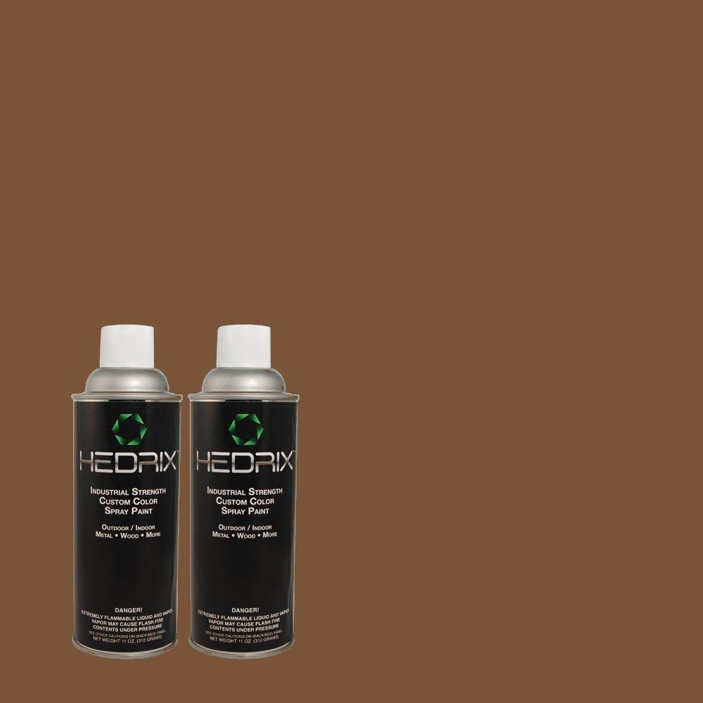 Hedrix 11 oz. Match of C60-55 Cocoa Brown Low Lustre Custom Spray Paint (2-Pack)