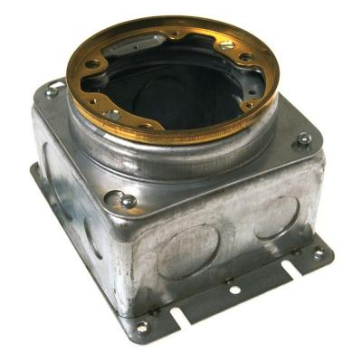 4 in. Round Concrete Floor Box, Stamped Steel Box with 1/2 & 3/4 in. KO's and Adjustable Height Feature
