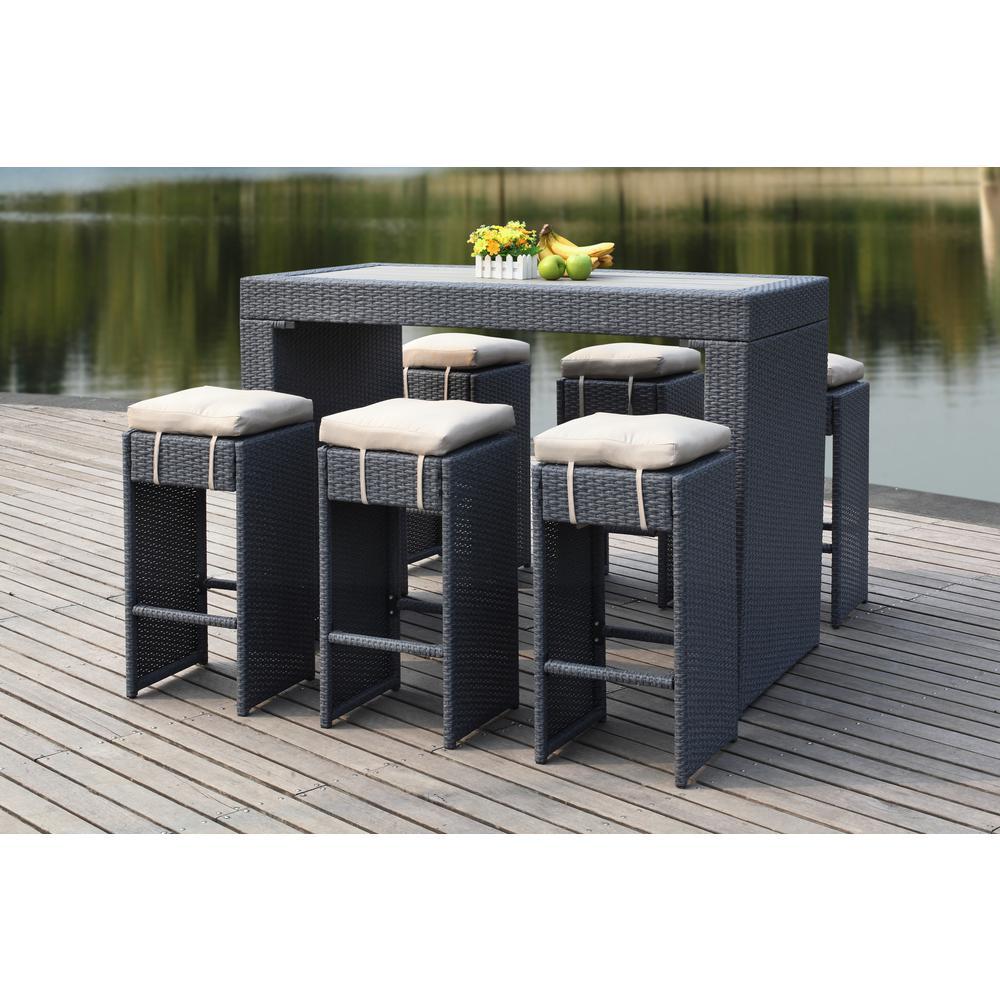 Astonishing Safavieh Sanders Titanium 7 Piece Wicker Outdoor Bistro Set With Sand Cushions Unemploymentrelief Wooden Chair Designs For Living Room Unemploymentrelieforg