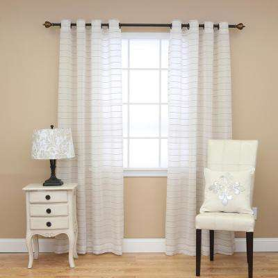 Faux Linen Horizontal Striped Curtains in White - 84 in. L x 52 in. W (2-Pack)