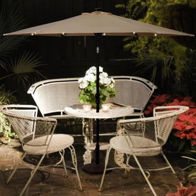 9 ft. Steel Cantilever LED Patio Umbrella with Crank in Beige